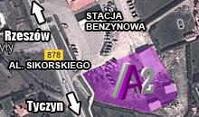 Mapa dojazdu do centrum budowlanego A2 Rzeszów